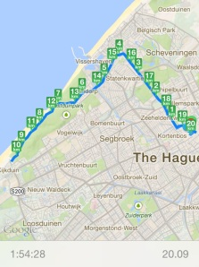 A run from the center of The Hague, past the harbour of Scheveningen to Kijkduin and back