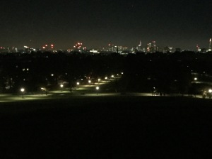 View from Primrose Hill over the twinkling lights of London