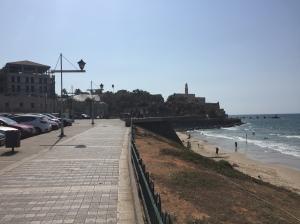 Beach promenade with Jaffa in the background